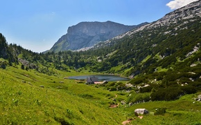 Picture mountains, lake, valley, Alps