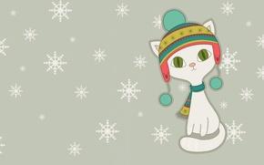 Picture winter, snowflakes, art, kitty, cap, children's