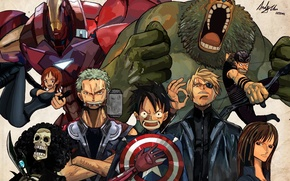 Picture pirates, shield, iron man, one piece, Hulk, Thor, captain America, the Avengers, Loki, Luffy, straw …
