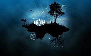 Picture the city, tree, island, vector