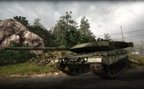 Picture road, trees, tank, armored warfare, leopard 2A5