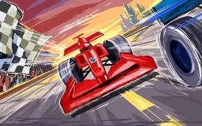 Picture figure, vector, race, formula 1, ferrari, tribune, Motorsport, finish