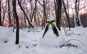 Picture winter, Sunset, Snowman