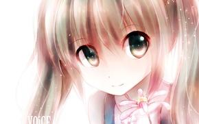 Picture flower, eyes, girl, face, smile, art, vocaloid, hatsune miku, Vocaloid, ryaku-ko