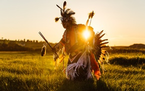 Picture field, sunrise, Indians, American Indians, the sun dance