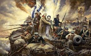 "Picture oil, picture, canvas, ""Defend Sevastopol!"", artist Vasily Nesterenko"