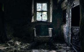 Wallpaper chair, needs repair, comfort), window
