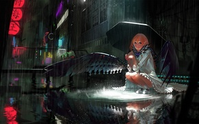 Picture girl, night, the city, rain, street, wings, umbrella, art, karasu-san, syh3iua83