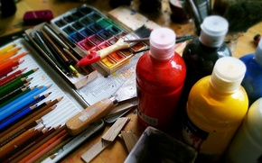 Picture paint, pencils, watercolor, artist, instrumento, handle, painting, creativity, acrylic