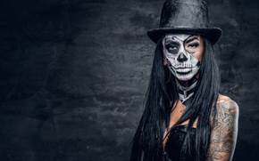 Picture sake, hat, female, makeup, day of the dead