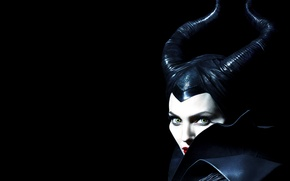 Picture look, Angelina Jolie, Angelina Jolie, horns, the witch, black background, Maleficent, Maleficent