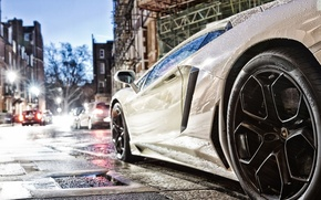 Picture road, drops, street, Lamborghini, lights, white, tires, supercar, 2012, casting, Aventador, lp700-4, pirelli, Lamborghini aventador