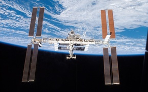 Wallpaper Earth, ISS, planet, space station