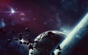Picture space, planet, art, space