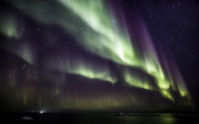Picture water, stars, snow, night, Northern lights, Aurora Borealis