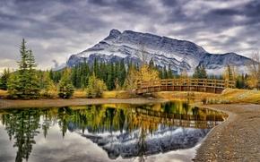 Picture autumn, trees, mountains, bridge, pond, reflection, Canada, Albert, Banff National Park, Alberta, Canada, Banff, Cascade …