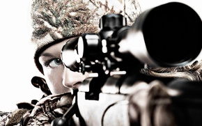 Picture girl, sniper, sight