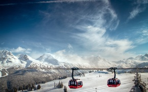 Picture MOUNTAINS, The SKY, CLOUDS, TOPS, SNOW, WINTER, TOURISM, CABLE CAR