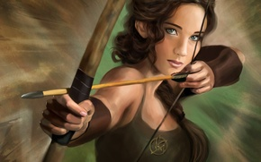 Picture art, Jennifer Lawrence, The Hunger Games, the hunger games, Katniss Everdeen, Jennifer Lawrence, arrow, bow