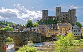 Wallpaper Germany, fortress, bridge, home, landscape, river, Runkel