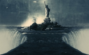 Picture wall, waterfall, the statue of liberty