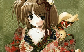 Picture pattern, rabbit, girl, kimono, art, bangs, noizi ito