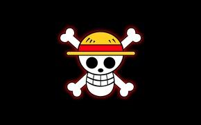 Picture skull, glow, hat, bones, black background, fun, one piece, straw hat