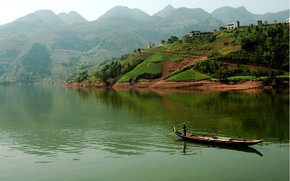 Picture field, the boatman, river, landscape, mountains