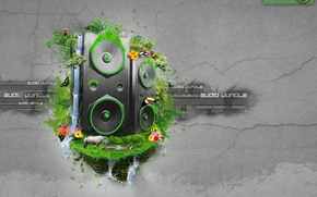 Picture music, waterfall, speakers, jungle