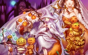 Wallpaper chest, joy, smile, girls, holiday, pumpkin, art, dark souls
