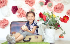 Picture flowers, children, mood, girl, lake, suitcase, child