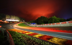 Picture night, Red Water, Circuit De Spa-Francorchamps, track, Spa-Francorchamps, turn