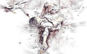 Picture water, reflection, wings, hands, petals, tie, guy, art, goose, closed eyes, Eno