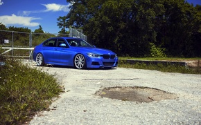 Picture BMW, BMW, wheels, blue, 335i, vossen, The 3 series, f30, frontside