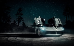 Picture Dark, Ferrari, Front, Smoke, Supercar, Vossen, Wheels, LaFerrari, Doors, Nigth