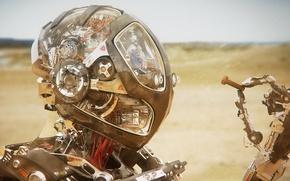 Picture sand, future, desert, robot, nut