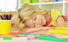 Picture table, child, handle, sleeping, girl, child, little Girl