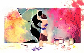 Picture girl, paint, figure, art, scissors, hug