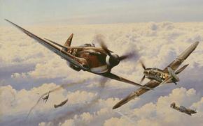 Picture the sky, clouds, war, fighter, battle, turn, Art, Messerschmitt, German, Soviet, piston, single-engine, Bf.109, The ...
