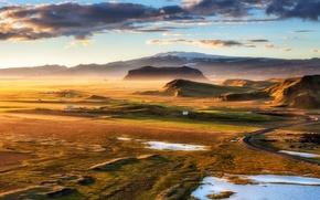 Wallpaper Iceland, golden hour, Dyrholaey