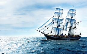 Wallpaper sea, ship, the ocean, clouds, the sky, sailboat