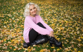 Picture leaves, autumn, girl, Olesya, look