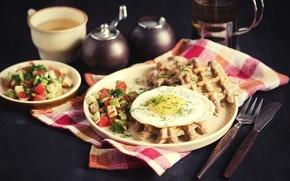 Picture tea, Breakfast, scrambled eggs, waffles, salad