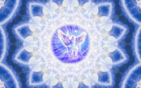 Picture graphics, lights, abstraction, heart, Light, sphere, glow, Angel, pattern, mandala, The Archangel Michael, The Archangel, ...