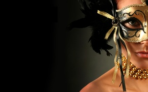 Picture look, girl, decoration, background, black, model, feathers, makeup, mask, neck