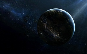 Wallpaper stars, light, space, civilization, planet