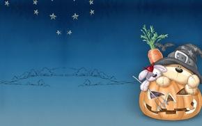 Picture holiday, carrot, art, pumpkin, bear, Halloween, Bunny, children's