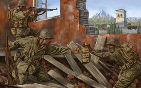 Picture war, art, rifle, WW2, soldiers, the ruins, equipment, the city, Rifle, Automatic, figure, battle, automatic, ...