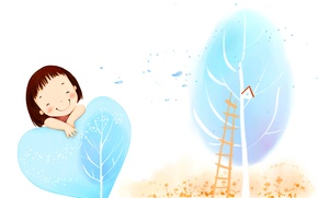 Wallpaper girl, heart, birdhouse, ladder, the wind, smile, tree, foliage, baby Wallpaper