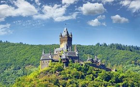 Picture forest, the sky, clouds, trees, castle, Germany, Sunny, Cochem